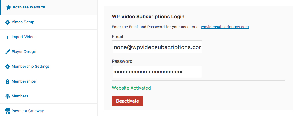 Activate WP Video Subscriptions